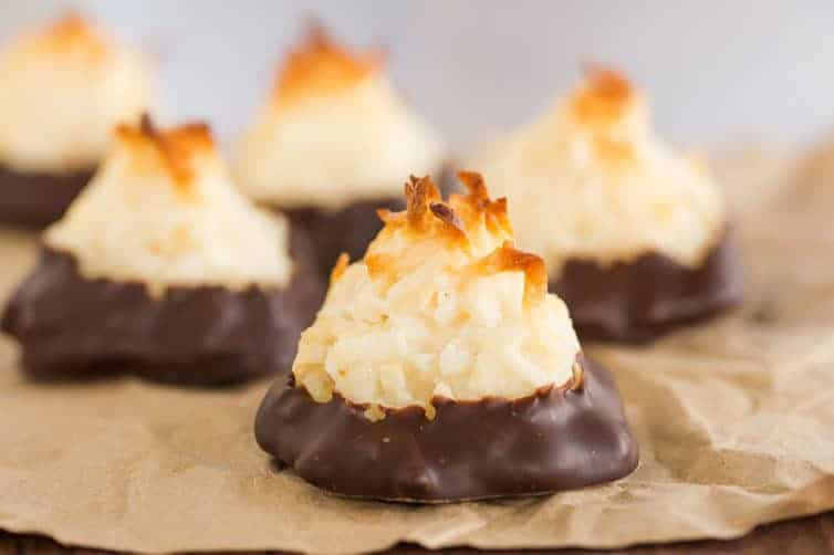 Coconut Macaroons - These chocolate-dipped coconut macaroons are so easy to make and always a crowd favorite!