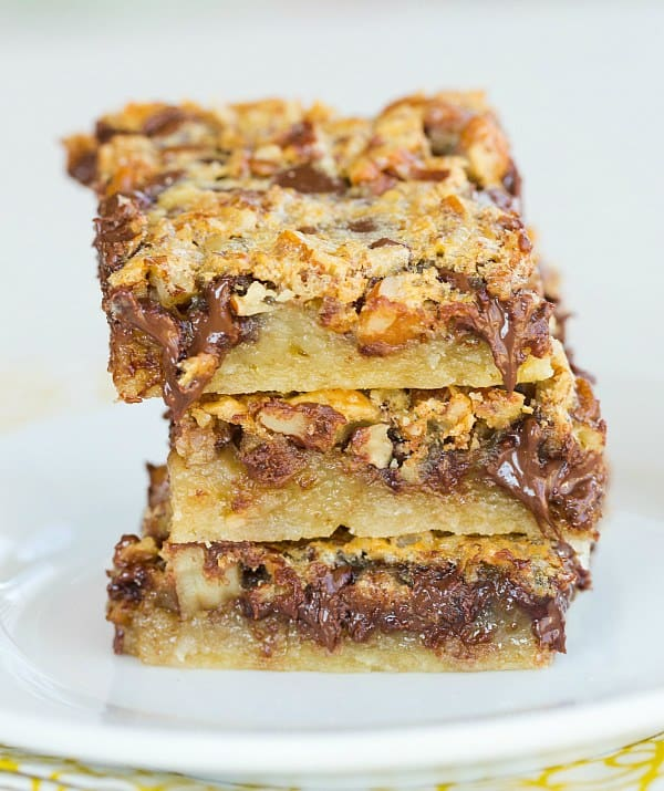 Chocolate Chip-Pecan Pie Bars - Perfectly portable Thanksgiving ...