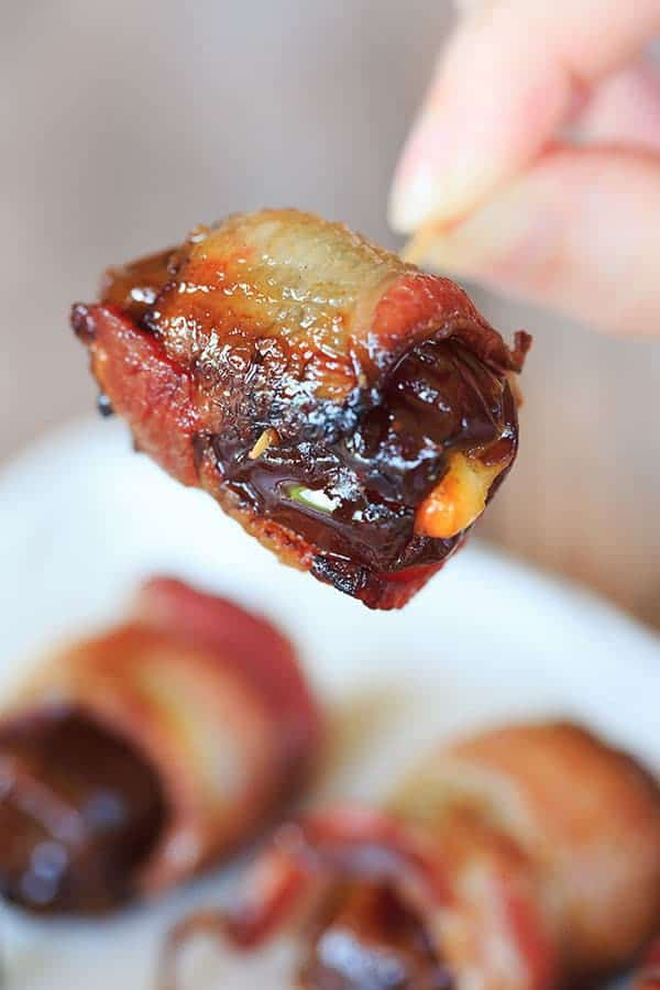 Cheesy Bacon-Wrapped Dates - Super easy and only THREE ingredients! | browneyedbaker.com