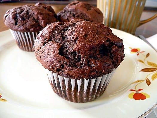 Chocolate-Chocolate Chunk Muffins | Brown Eyed Baker