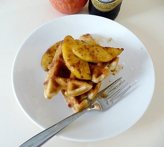 Beer Waffles with Cinnamon-Caramelized Apples