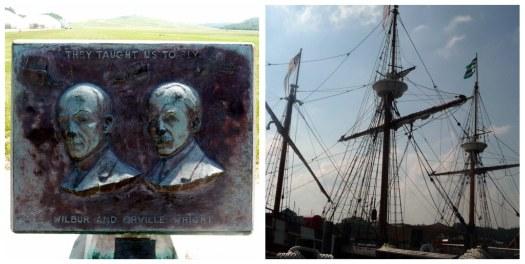 Wright Memorial and Elizabeth II replica ship