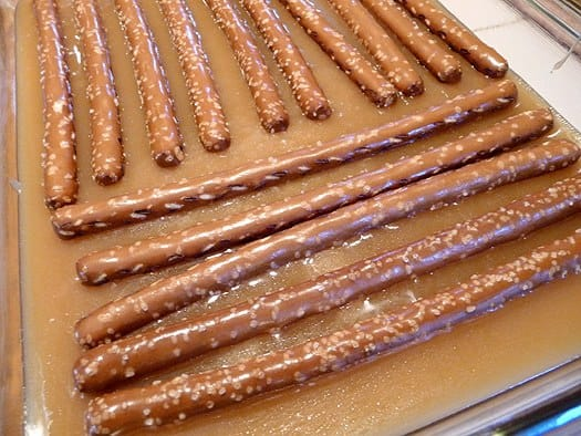 Beer and Pretzel Caramels - In the pan
