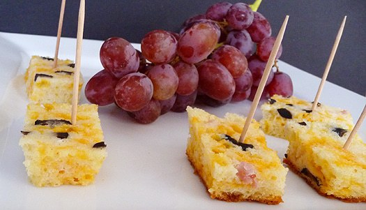 Cheese, Olive & Ham Bread - Cubed for appetizers