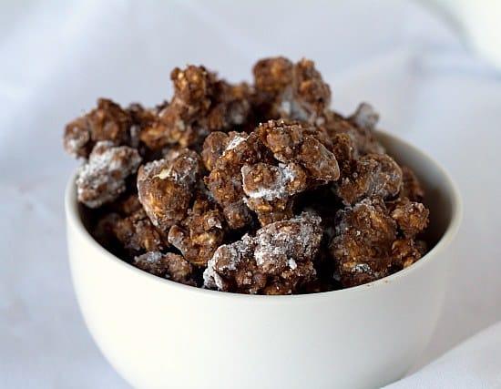 Chocolate & Peanut Butter Popcorn | Poppy Chow | Brown Eyed Baker