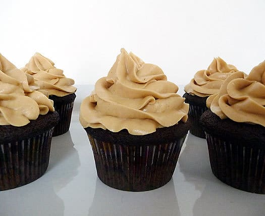 Dark Chocolate Cupcakes with Peanut Butter Frosting | browneyedbaker.com