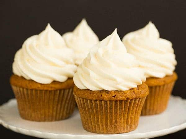 Pumpkin Cupcakes with Cream Cheese Frosting | browneyedbaker.com