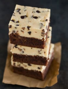 A stack of chocolate chip cookie dough brownies.