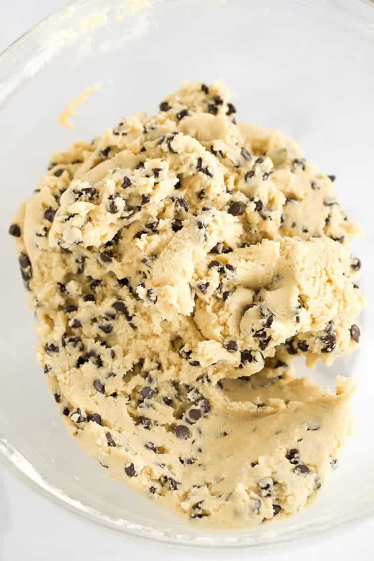 A bowl of edible (egg-free) chocolate chip cookie dough.