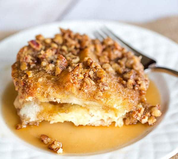 Baked French Toast Casserole with Praline Topping is wonderfully decadent, making it perfect for holidays or overnight guests!
