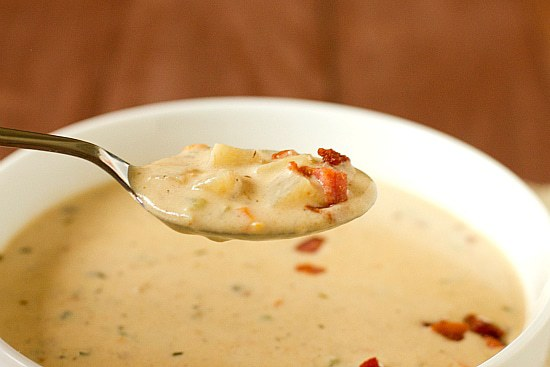 ... bacon i usually baked potato and leek soup fave soup baked potatoes
