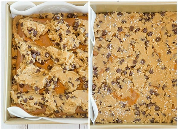 Salted Caramel Chocolate Chip Cookie Bars - A layer of salted caramel sauce is sandwiched between layers of a favorite chocolate chip cookie dough recipe, then topped with a sprinkle of fleur de sel.