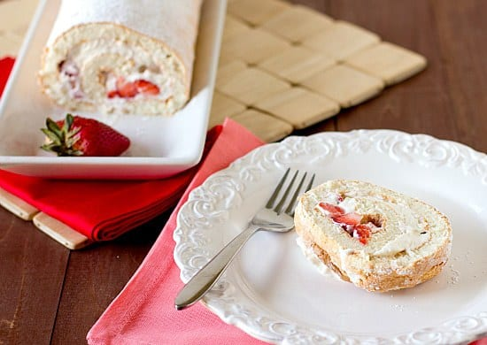 Strawberries and Cream Angel Food Cake Roll | Brown Eyed Baker