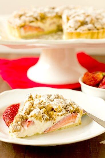 Strawberry Cream Cheese Crumble Tart | Brown Eyed Baker