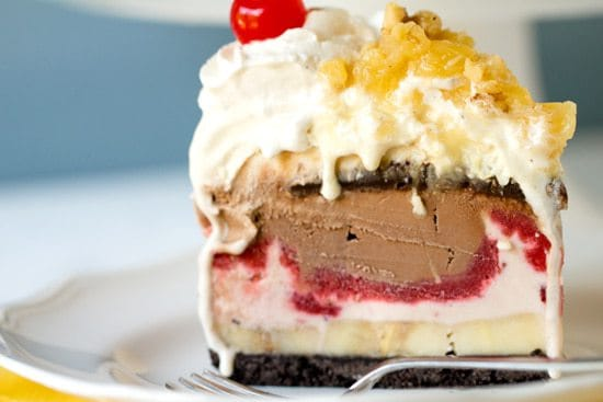 Banana Split Ice Cream Cake | Brown Eyed Baker