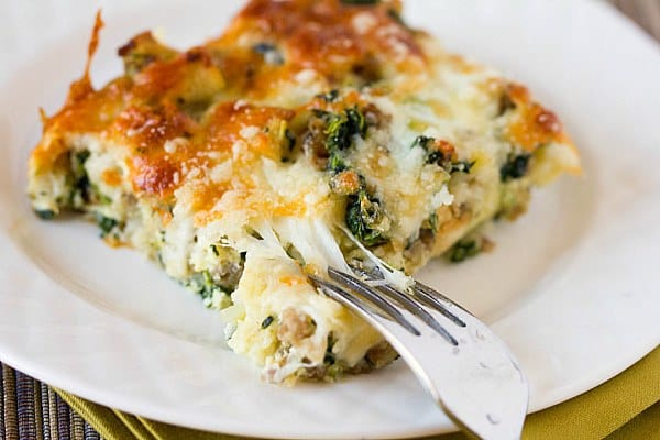 Cheesy Sausage Spinach Breakfast Casserole Brown Eyed Baker