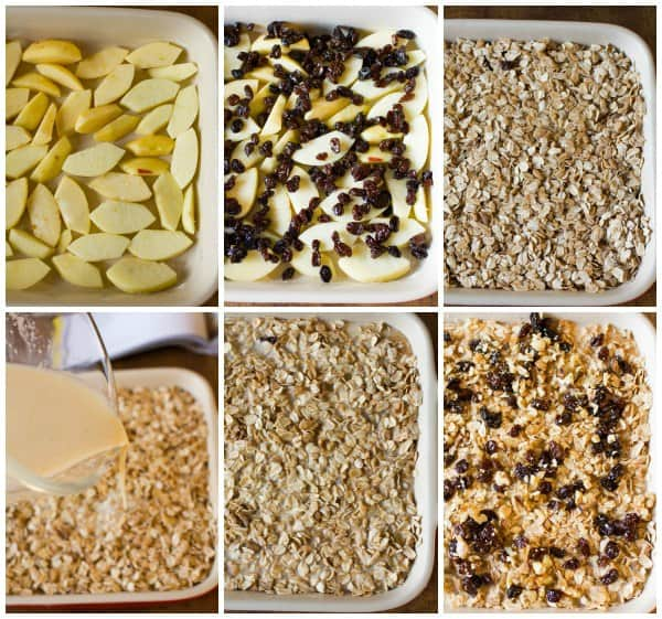Assembling the Apple, Raisin & Walnut Baked Oatmeal