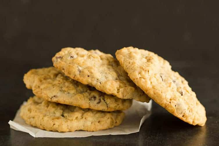 A pile of oatmeal chocolate chip cookies.