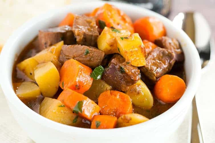 This Guinness Beef Stew recipe is rich and hearty, with a robust gravy-like sauce that is flavored by Guinness. A must for St. Patrick's Day!