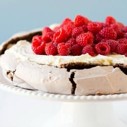 Chocolate Pavlova with Mascarpone and Raspberries