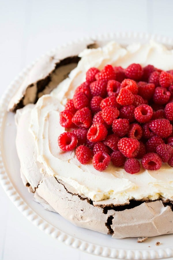 Chocolate Pavlova with Mascarpone Whipped Cream and Raspberries