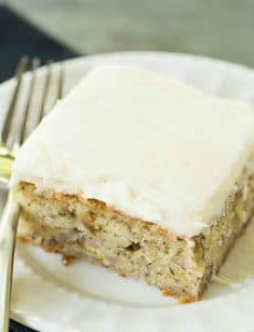Banana Snack Cake with Cream Cheese Frosting