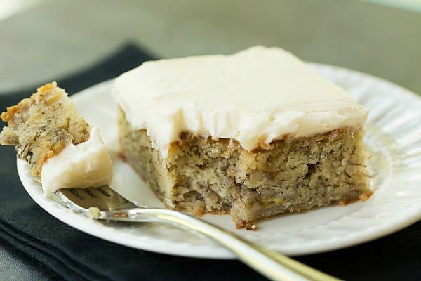 Banana Snack Cake with Cream Cheese Frosting by @browneyedbaker :: www.browneyedbaker.com
