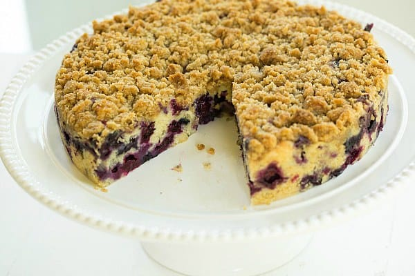 Blueberry Buckle Recipe on @browneyedbaker :: www.browneyedbaker.com