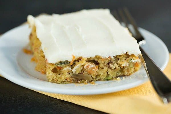 Carrot-Zucchini Bars with Cream Cheese Icing by @browneyedbaker :: www.browneyedbaker.com