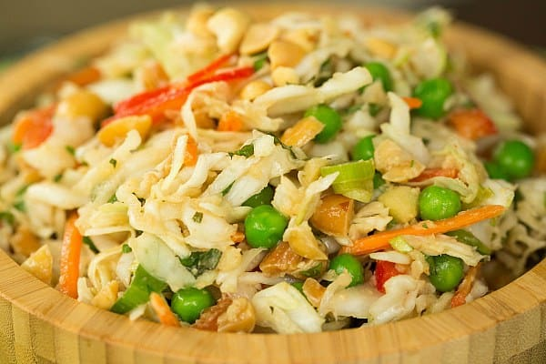 Thai Peanut Cabbage Slaw by @browneyedbaker :: www.browneyedbaker.com