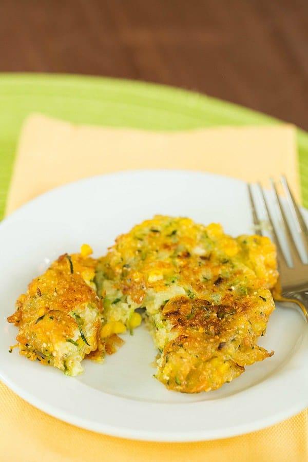 Zucchini-Corn Fritters by @browneyedbaker :: www.browneyedbaker.com