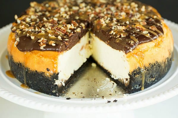 Turtle Cheesecake by @browneyedbaker :: www.browneyedbaker.com