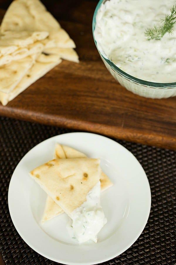 Tzatziki Sauce Recipe on @browneyedbaker :: www.browneyedbaker.com