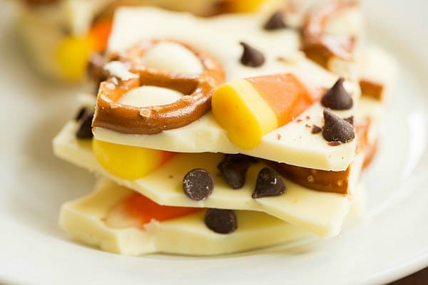 Candy Corn Pretzel Chocolate Bark by @browneyedbaker :: www.browneyedbaker.com