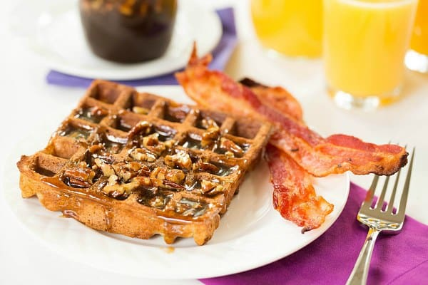 Praline Waffles by @browneyedbaker :: www.browneyedbaker.com