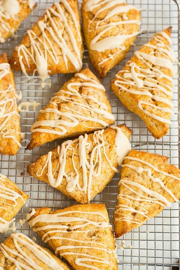 Sweet Potato Scones with Maple Cream Glaze by @browneyedbaker :: www.browneyedbaker.com