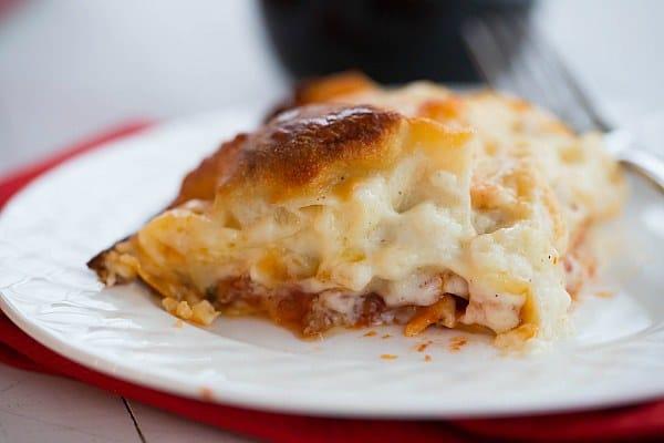 Cheesy Lasagna Bolognese | browneyedbaker.com #recipe #pasta