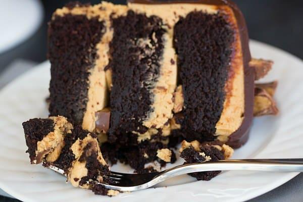 Peanut Butter Cup Overload Cake | browneyedbaker.com #recipe