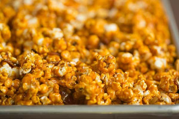 Bacon and Cashew Bourbon Caramel Corn | Brown Eyed Baker