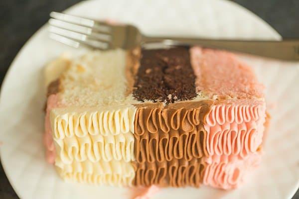 Neapolitan Cake | browneyedbaker.com #recipe