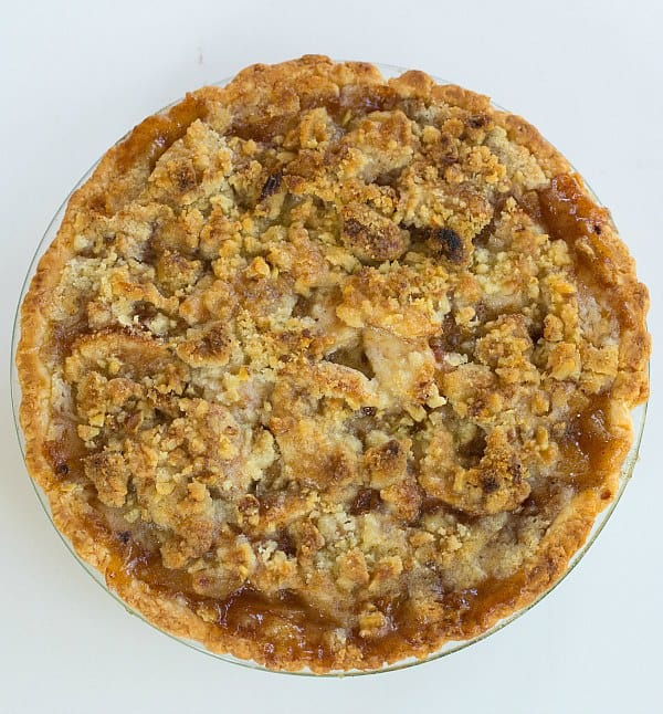 Maple-Apple Pie with Walnut Crumb Topping | browneyedbaker.com #recipe