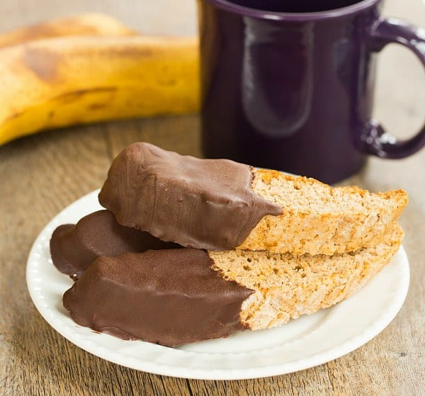 Chocolate-Dipped Banana Bread Biscotti | browneyedbaker.com #recipe
