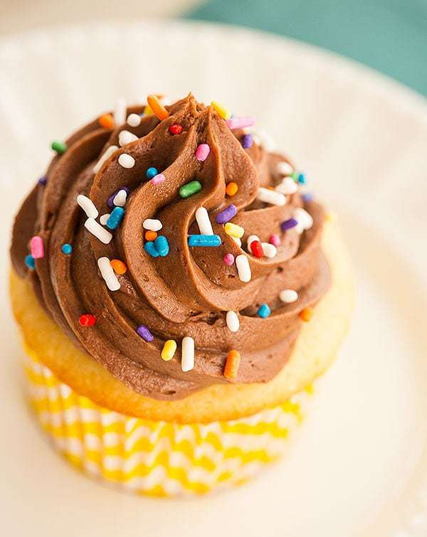 Classic Yellow Cupcakes with Chocolate Frosting | Brown ...