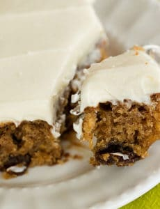 Oatmeal-Raisin Snack Cake with Cream Cheese Frosting | browneyedbaker.com