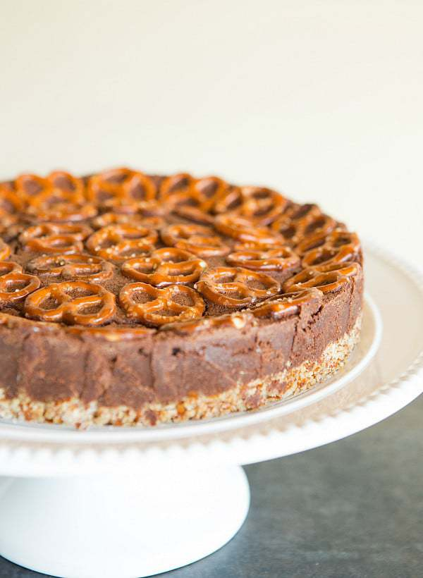 Salted Dark Chocolate Cake with Pretzel Crust | browneyedbaker.com