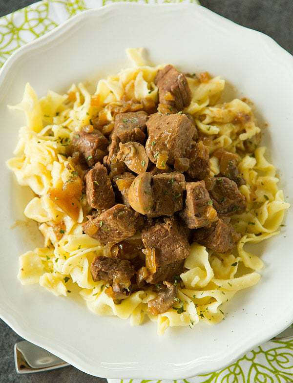 Crock Pot Beef Tips with Egg Noodles