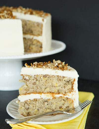 Hummingbird Cake - Bananas, pineapple, pecans and cream cheese frosting! | browneyedbaker.com