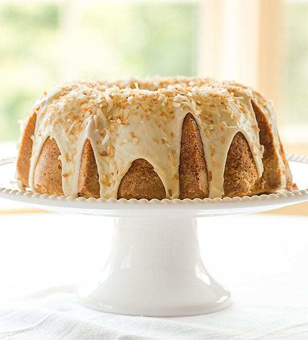 Coconut Bundt Cake with White Chocolate-Coconut Glaze | browneyedbaker.com