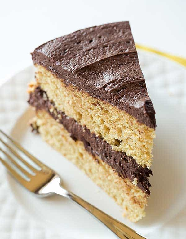 Peanut Butter Cake with Chocolate Frosting | browneyedbaker.com