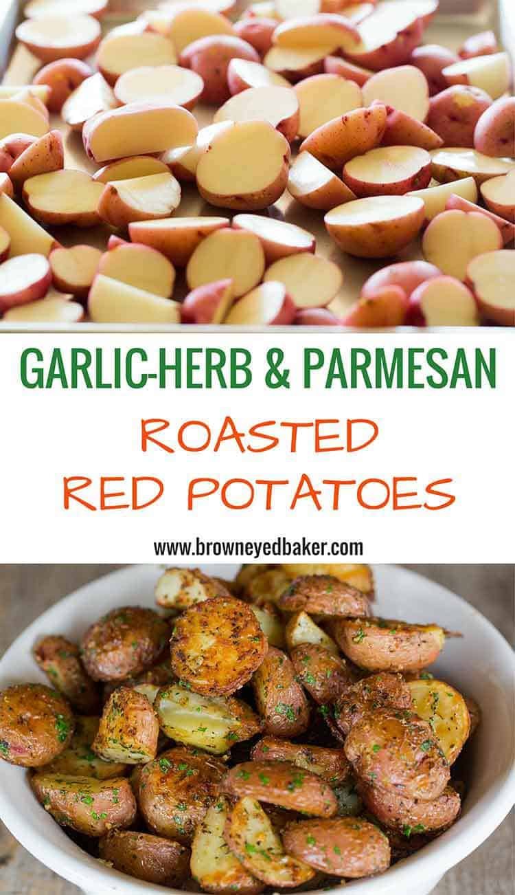 Garlic-Herb & Parmesan Roasted Red Potatoes - The BEST roasted red potato recipe!! | browneyedbaker.com